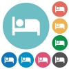 Hotel flat round icons - Hotel flat white icons on round color backgrounds