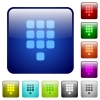 Dial pad color square buttons - Dial pad icons in rounded square color glossy button set