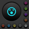 Shocked emoticon dark push buttons with vivid color icons on dark grey background - Shocked emoticon dark push buttons with color icons