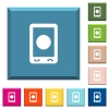 Mobile media record white icons on edged square buttons in various trendy colors - Mobile media record white icons on edged square buttons