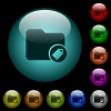 Tagging directory icons in color illuminated glass buttons - Tagging directory icons in color illuminated spherical glass buttons on black background. Can be used to black or dark templates