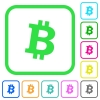 Bitcoin digital cryptocurrency vivid colored flat icons - Bitcoin digital cryptocurrency vivid colored flat icons in curved borders on white background