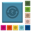 Rupee pay back guarantee sticker engraved icons on edged square buttons - Rupee pay back guarantee sticker engraved icons on edged square buttons in various trendy colors