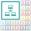 Wireless network flat color icons with quadrant frames on white background - Wireless network flat color icons with quadrant frames