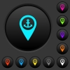 Sea port GPS map location dark push buttons with color icons - Sea port GPS map location dark push buttons with vivid color icons on dark grey background