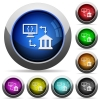 Open banking API round glossy buttons - Open banking API icons in round glossy buttons with steel frames