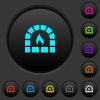 Stone oven dark push buttons with color icons - Stone oven dark push buttons with vivid color icons on dark grey background