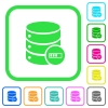 Database processing vivid colored flat icons in curved borders on white background - Database processing vivid colored flat icons