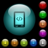 Mobile scripting icons in color illuminated spherical glass buttons on black background. Can be used to black or dark templates - Mobile scripting icons in color illuminated glass buttons