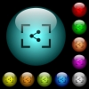 Camera share image icons in color illuminated glass buttons - Camera share image icons in color illuminated spherical glass buttons on black background. Can be used to black or dark templates