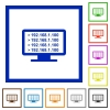 Ping remote computer flat color icons in square frames on white background - Ping remote computer flat framed icons