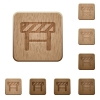 Construction barrier on rounded square carved wooden button styles - Construction barrier wooden buttons