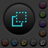 Bring element to front dark push buttons with color icons - Bring element to front dark push buttons with vivid color icons on dark grey background