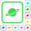 Planet vivid colored flat icons - Planet vivid colored flat icons in curved borders on white background