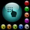 Typing security code icons in color illuminated glass buttons - Typing security code icons in color illuminated spherical glass buttons on black background. Can be used to black or dark templates