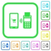 Mobile payment vivid colored flat icons - Mobile payment vivid colored flat icons in curved borders on white background