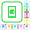 Mobile wallet vivid colored flat icons - Mobile wallet vivid colored flat icons in curved borders on white background