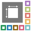 Elemet dimensions flat icons on simple color square backgrounds - Elemet dimensions square flat icons