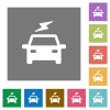 Electric car with flash square flat icons - Electric car with flash flat icons on simple color square backgrounds