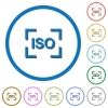 Camera iso speed setting icons with shadows and outlines - Camera iso speed setting flat color vector icons with shadows in round outlines on white background