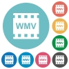 WMV movie format flat round icons - WMV movie format flat white icons on round color backgrounds