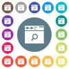 Browser search flat white icons on round color backgrounds - Browser search flat white icons on round color backgrounds. 17 background color variations are included.