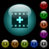 Add new movie icons in color illuminated glass buttons - Add new movie icons in color illuminated spherical glass buttons on black background. Can be used to black or dark templates