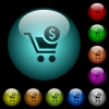 Checkout with Dollar cart icons in color illuminated glass buttons - Checkout with Dollar cart icons in color illuminated spherical glass buttons on black background. Can be used to black or dark templates