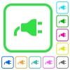 Power plug vivid colored flat icons - Power plug vivid colored flat icons in curved borders on white background