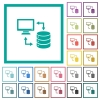 Syncronize data with database flat color icons with quadrant frames - Syncronize data with database flat color icons with quadrant frames on white background