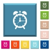 Alarm clock white icons on edged square buttons - Alarm clock white icons on edged square buttons in various trendy colors