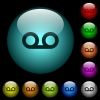Voicemail icons in color illuminated glass buttons - Voicemail icons in color illuminated spherical glass buttons on black background. Can be used to black or dark templates