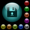 Upload file icons in color illuminated glass buttons - Upload file icons in color illuminated spherical glass buttons on black background. Can be used to black or dark templates