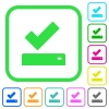 Successfully saved vivid colored flat icons - Successfully saved vivid colored flat icons in curved borders on white background