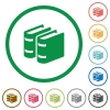 Two books flat color icons in round outlines on white background - Two books flat icons with outlines