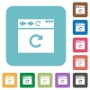 Browser reload rounded square flat icons - Browser reload white flat icons on color rounded square backgrounds