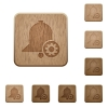 Reminder settings wooden buttons - Reminder settings on rounded square carved wooden button styles