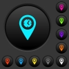 Arrival time GPS map location dark push buttons with color icons - Arrival time GPS map location dark push buttons with vivid color icons on dark grey background