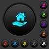 Home insurance dark push buttons with color icons - Home insurance dark push buttons with vivid color icons on dark grey background