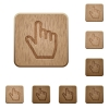 Hand cursor wooden buttons - Hand cursor on rounded square carved wooden button styles