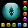 Ethereum classic digital cryptocurrency icons in color illuminated glass buttons - Ethereum classic digital cryptocurrency icons in color illuminated spherical glass buttons on black background. Can be used to black or dark templates