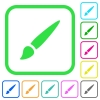 Brush vivid colored flat icons - Brush vivid colored flat icons in curved borders on white background