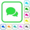Discussion vivid colored flat icons - Discussion vivid colored flat icons in curved borders on white background
