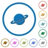 Planet icons with shadows and outlines - Planet flat color vector icons with shadows in round outlines on white background