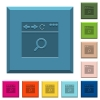 Browser search engraved icons on edged square buttons in various trendy colors