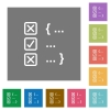 Source code checking square flat icons - Source code checking flat icons on simple color square backgrounds