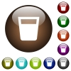 Drink white icons on round color glass buttons