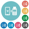 Mobile payment flat round icons - Mobile payment flat white icons on round color backgrounds