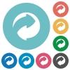 Eco packing symbol flat round icons - Eco packing symbol flat white icons on round color backgrounds