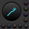 Toothbrush dark push buttons with vivid color icons on dark grey background - Toothbrush dark push buttons with color icons